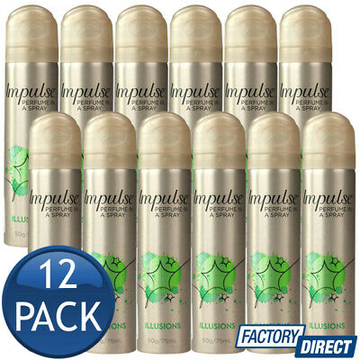 12 x IMPULSE BODY SPRAY LADIES MIST PERFUME FRAGRANCE ILLUSIONS SCENT 57g/75mL