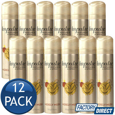 12 x IMPULSE BODY SPRAY MIST LADIES PERFUME FRAGRANCE MERELY MUSK SCENT 57g/75mL