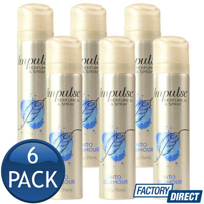 6 x IMPULSE BODY SPRAY LADIES PERFUME FRAGRANCE INTO GLAMOUR SCENT 57g/75mL