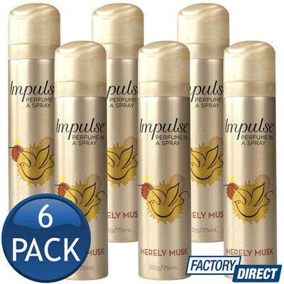 6 x IMPULSE BODY SPRAY LADIES WOMEN PERFUME FRAGRANCE MERELY MUSK SCENT 57g/75mL