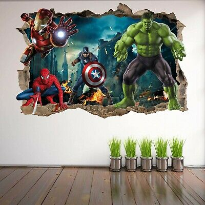 Avengers Superhero Wall Art Stickers Mural Decal Hulk Spiderman Iron Man EA73
