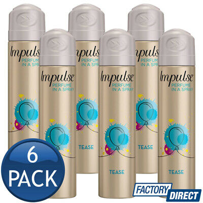 6 x IMPULSE BODY SPRAY LADIES WOMEN MIST PERFUME FRAGRANCE TEST BULK 50g/75mL