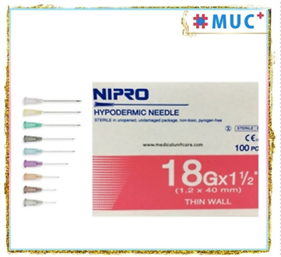 "100 Pcs NIPRO Hypodermic Dispensing Needle 18 g x 1.5"" Thin Wall 1.2 x 40 mm"