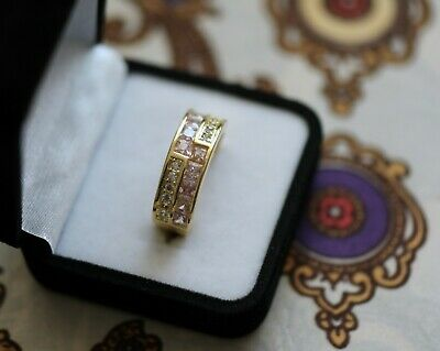 Vintage Jewellery Art Deco Gold Ring Pink White Sapphires Antique Jewelry 7 N