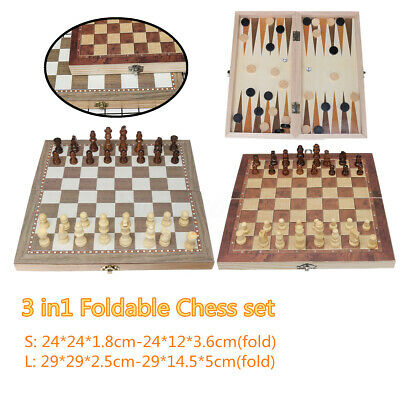 Large Folding wooden Chess Set Standard Chess Board Game Backgammon Draughts Kid