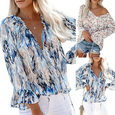 Summer Women T-Shirt Floral Off Shoulder Tee V-Neck Long Sleeve Shirt Top Blouse
