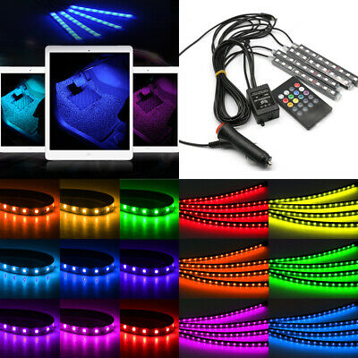 4X9 LED Car Interior Footwell RGB Strip Light Muticolour + Remote Music Mode UK