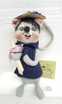 Vintage 1966 Annalee Navy Blue Graduation Doll Mouse New with Tag