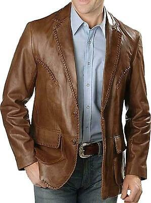 New Men's Genuine Lambskin Leather Blazer Brown TWO BUTTON Coat Jacket Soft/SS55