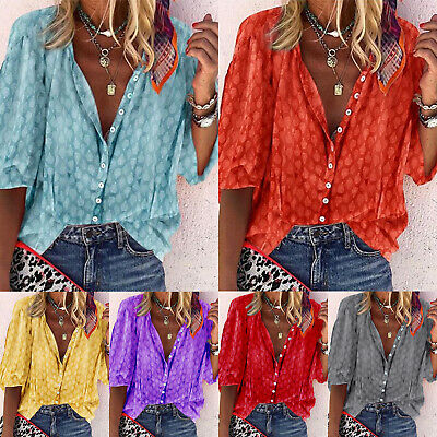 Womens Summer Tops Button Down Shirt Ladies Holiday V Neck Blouse T Shirt Size