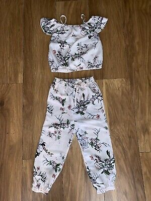 Girls River Island Age 3-4 Co Ord Set Outfit Crop Top And Trousers Vgc