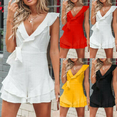 Women Summer Casual Solid Deep V-Neck Butterfly Sleeve Backless Dress CulottesCA