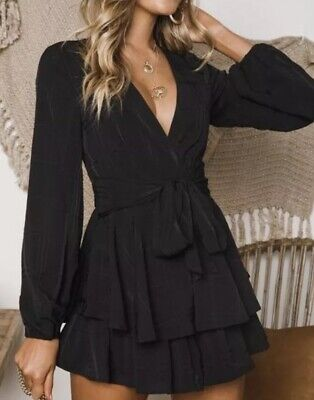 New Peppermayo Black Long Sleeve Chiffon Frill Playsuit 6 Last1