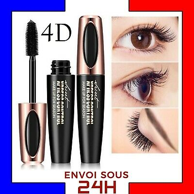 Mascara Cils Maquillage Fibre de Soie 4D Waterproof Naturel 3D long cils silk FR