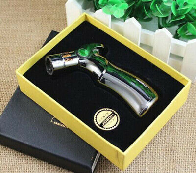 JOBON Windproof 4 Jet Quad Jet Torch Flame Cigarette Cigar Lighter Silver w/ Box