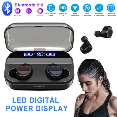 UK TWS Earbuds Wireless Headphones LED Digital Smart Bluetooth Sport Earphones