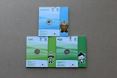 Canada 2010 Olympic mascot Coloured Coin Set and Folder  (25 cents*3)