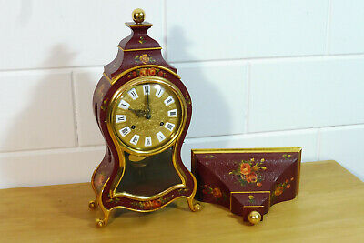 Swiss Boulle Clock Wall Mantel Clock + Console Swiss made Vintage
