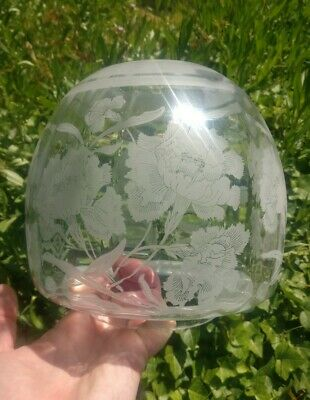 """Beehive Acid etched clear glass Oil Lamp Shade - poppies or wild rose 4"""" fitter"""