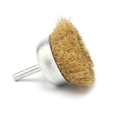 """5Pcs 65mm Copper Wire Wheel Cup Brush With 1/4""""Shank For Cleaning Polishing"""