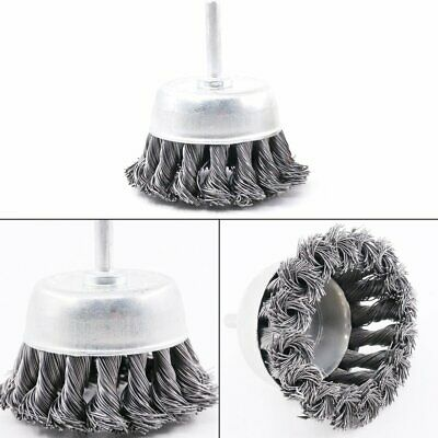 "3"" Metal Knot Wire Wheel Cup Brush Angle Grinders For Surface Cleaning 1/4 Shank"