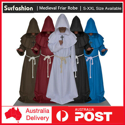Medieval Friar Hooded Robe Monk Cross Necklace Renaissance Costume Cosplay