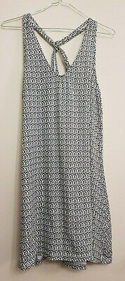 Ref 492 - Ladies Womens Girls Black & White Patterned Summer Dress Size 14-16