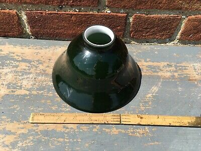 Old Glass Bell Shade Dark Green Very Good Condition