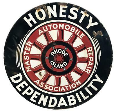 "BIG Antique RHODE ISLAND MASTER AUTOMOBILE REPAIR 36"" Porcelain Enamel Car Sign"