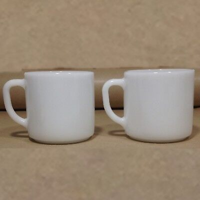 2 Vintage USA FEDERAL Milk Glass White Stackable  D Handle coffee mug