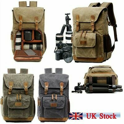 Travel Unisex Waterproof Canvas DSLR SLR Photography Camera Lens Bag Backpack