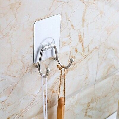 Self-adhesive Punch-free Double Hooks Skidproof Hooks Wall Door Strong Hook D