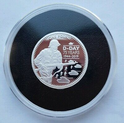 2019 Alderney 75th Anniversary of D-Day WW2 - £1 One Silver Proof Coin - Mint