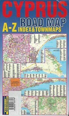 Cyprus Road Map A-Z Index & Town Maps Beaches Agia NapaTroodos Mountains 1974