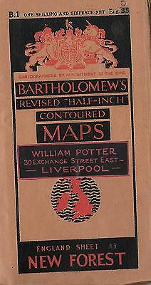 Bartholomew's Half –Inch Contoured Map Sheet 33 New Forest Paper Circa 1930-1940