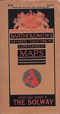 Bartholomew's Half –Inch Contoured Map Sheet 2 The Solway  Paper Circa 1930-1940