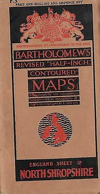 Bartholomew's Half –Inch Contoured Map Sheet North Shropshire  Paper 1930-1940's
