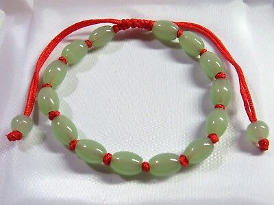 NATURAL GREEN Carved Barrel Jade Chinese Lucky FENG SHUI Bracelet - red thread