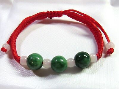 NATURAL GREEN Carved Round Jade Chinese Lucky FENG SHUI Bracelet - red thread