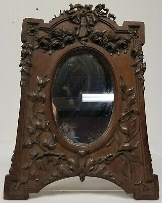 Antique Finely Carved Walnut Frame Mirror Continental Floral As Is