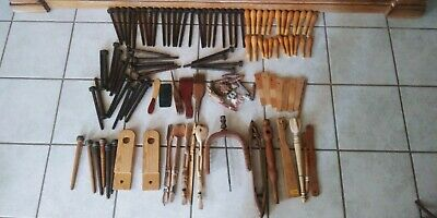Lot Of (100) Vintage Mixed Wooden Textile Mill Spools Bobbin Quill Weaving Tools