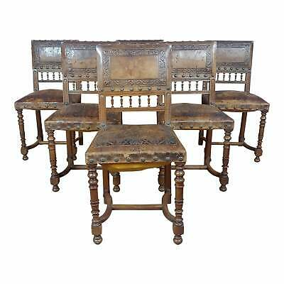 Spanish Revival -19th century Chairs w/ embossed leather-Set of 6