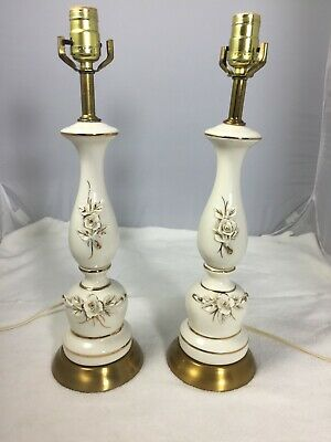 Mid-Century Hollywood Regency Style Cream Gold Ceramic Table Lamps