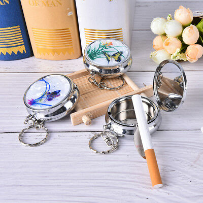 Creative Round Cigarette Keychain Portable Stainless Steel Pocket Ashtray YNUKLD