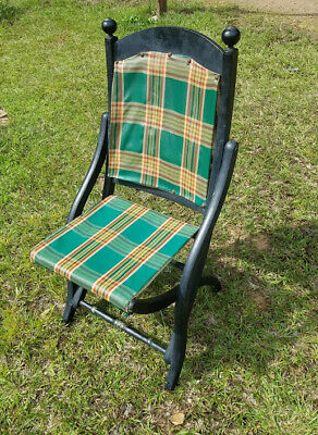 Antique Primitive 19th Century Folding Campaign Chair Victorian era