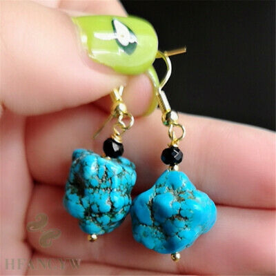 14x16mm Natural Turquoise Earrings 18k Ear Hook Wedding Gift Hang Bead Clasp