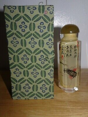 Vintage Reverse Painted Chinese Perfume Snuff Glass Bottle