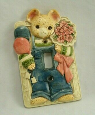 Takahashi Mouse Single Light Switch Plate Cover Ceramic Vintage