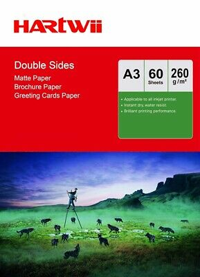 A3 Double Sided Matte Matt Photo Paper 260Gsm Inkjet Paper - 60 Sheets Harwii