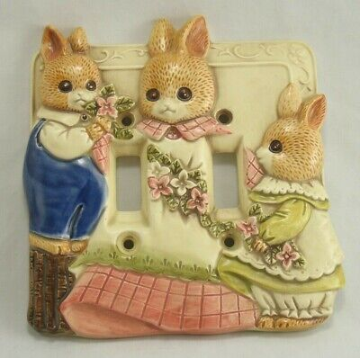 Takahashi Double Light Switch Cover Plate Rabbits Ceramic Vintage